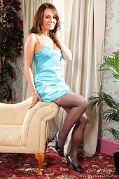 Zoe Alexander stripteases in Blue Satin and Pantyhose